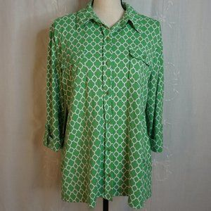 Charter Club 70's Print Button Down Collard Shirt
